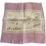 Two Vintage Handkerchiefs, One Scenic, One Dogwood