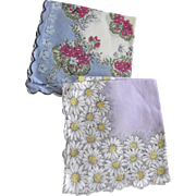Two Floral Handkerchiefs