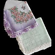 Pair of Crochet Edged Handkerchiefs