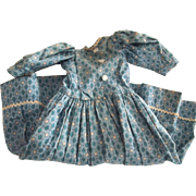 Blue Cotton Dress For A China or Paper Mache Doll