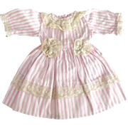 Pink and White Striped Dress With Lace