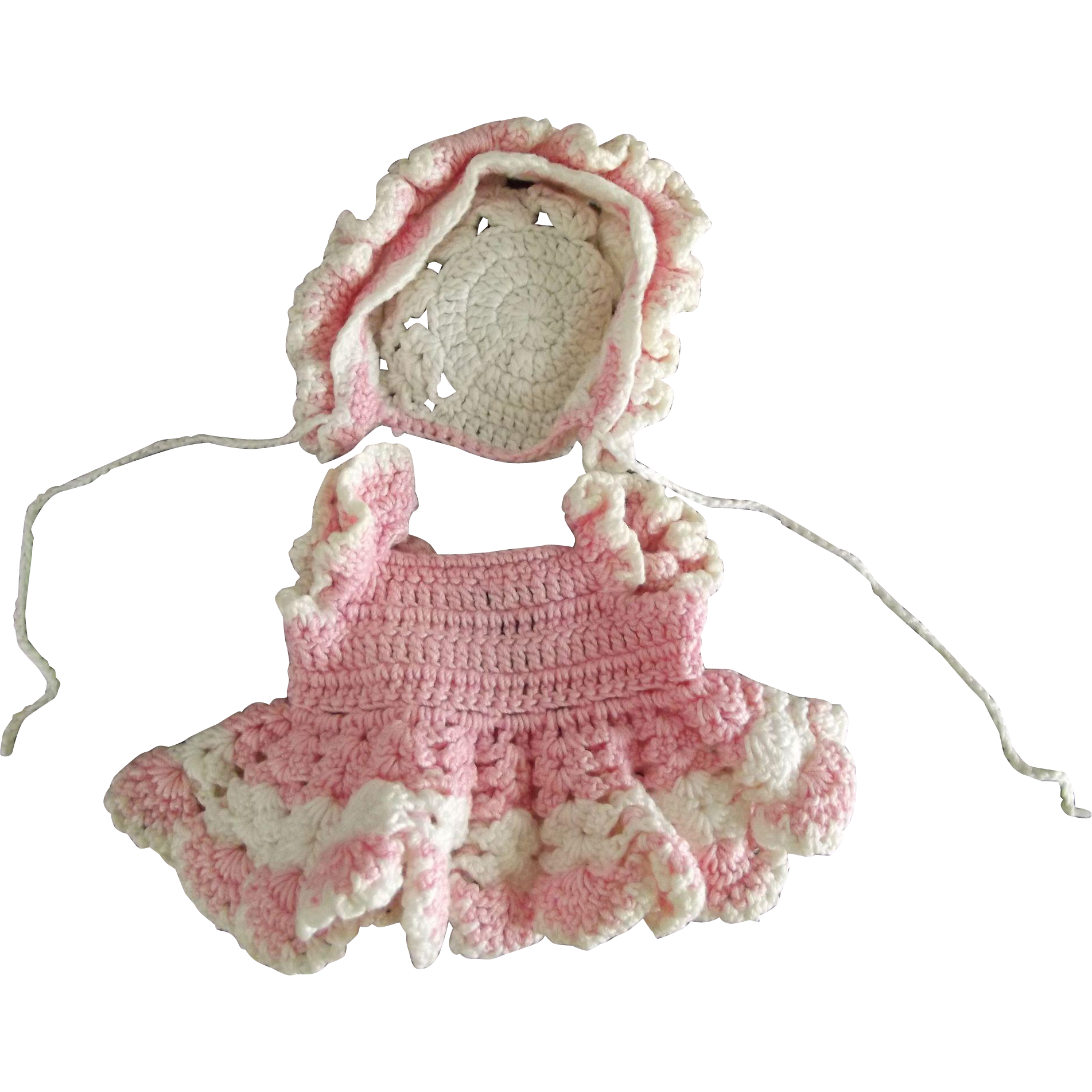 Pink and White Crochet Dress and Bonnet For All Bisque