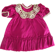 Fushcia Dress With Lace For Small Doll