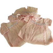 Twin Pink Organdy Dresses and Bonnets for Vintage Dolls