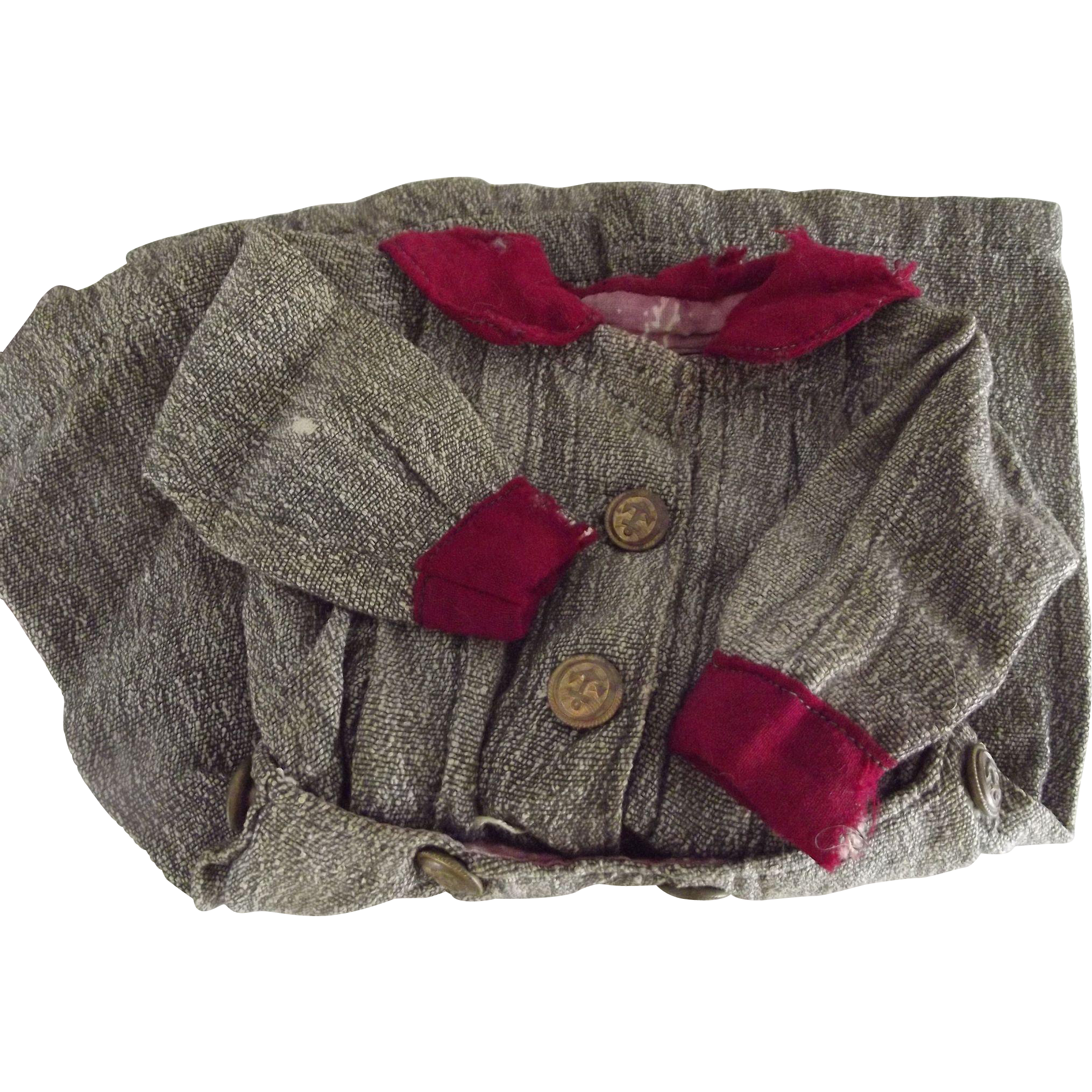 Early Gray Doll Dress With Brass  Anchor Buttons