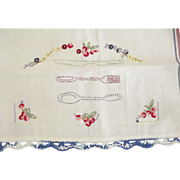 Embroidered Kitchen Towel With FLowers and Utinsels