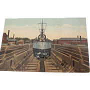 Post CArd of Ship In Charlestown Mass Dry Dock Navy Yard