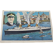 "Postcard The ""Normandie"" With Picture of the Commodore New York Harbor 1936"