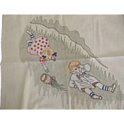 Embroidered Jack and Jill Crib Cover, Carriage Cloth or Wall Hanging