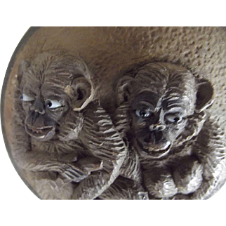 Early Carved Monkey Round With Glass Eyes