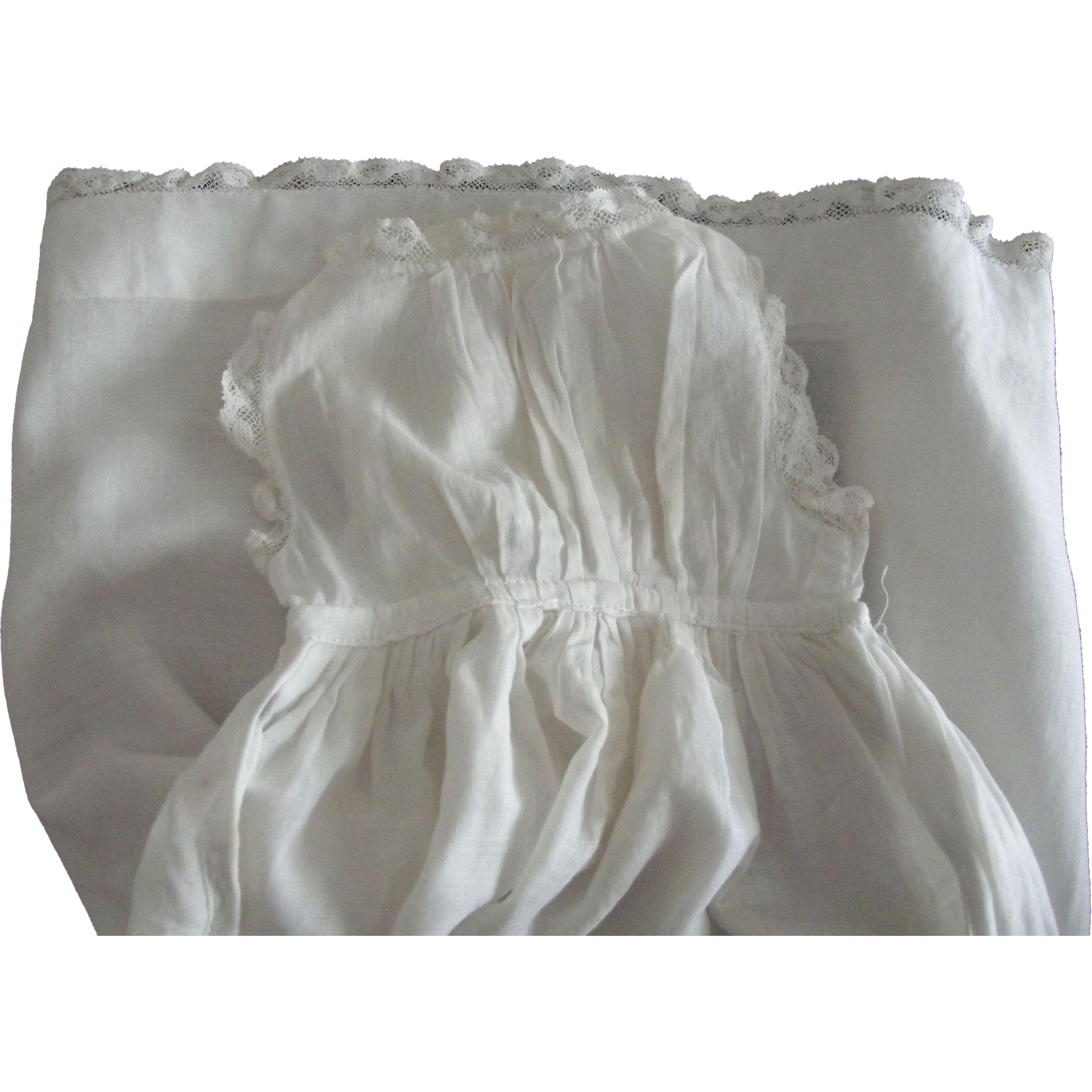 Fine Lawn Lace Trimmed Whole Slip For A Doll
