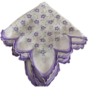 Handkerchief With Ruffled Edge and Purple Flowers