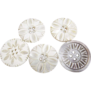 Four Large Carved Mother of Pearl Buttons