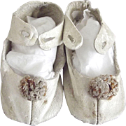 White Doll Shoes With Original Toe Trim