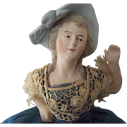 Bisque Pincushion Doll With Arms Away, Molded  Blue Hat