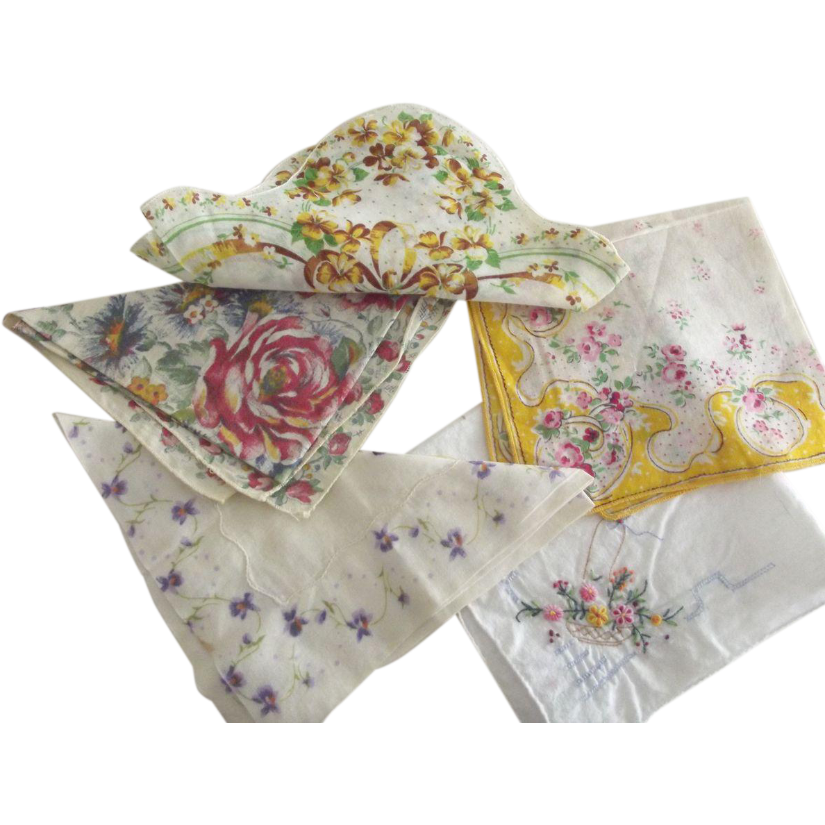 Five Handkerchiefs With Flowers, One Scalloped