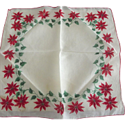 Handkerchief With Poinsettias