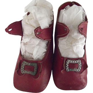 Red Leather Heeled Shoea For Doll
