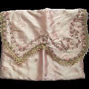 Pink Lingerie Bag With Silk Rose Ribbon Trim