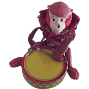 Monkey Playing A Tin Drum, Tiny Primate, Miniature Novelty