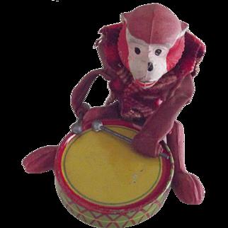 Monkey Playing A Tin Drum, Tiny Primate, Miniature Novelty