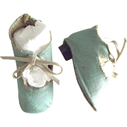Tuorquoise/ sea foam  Oil Cloth Doll Shoes With Heels