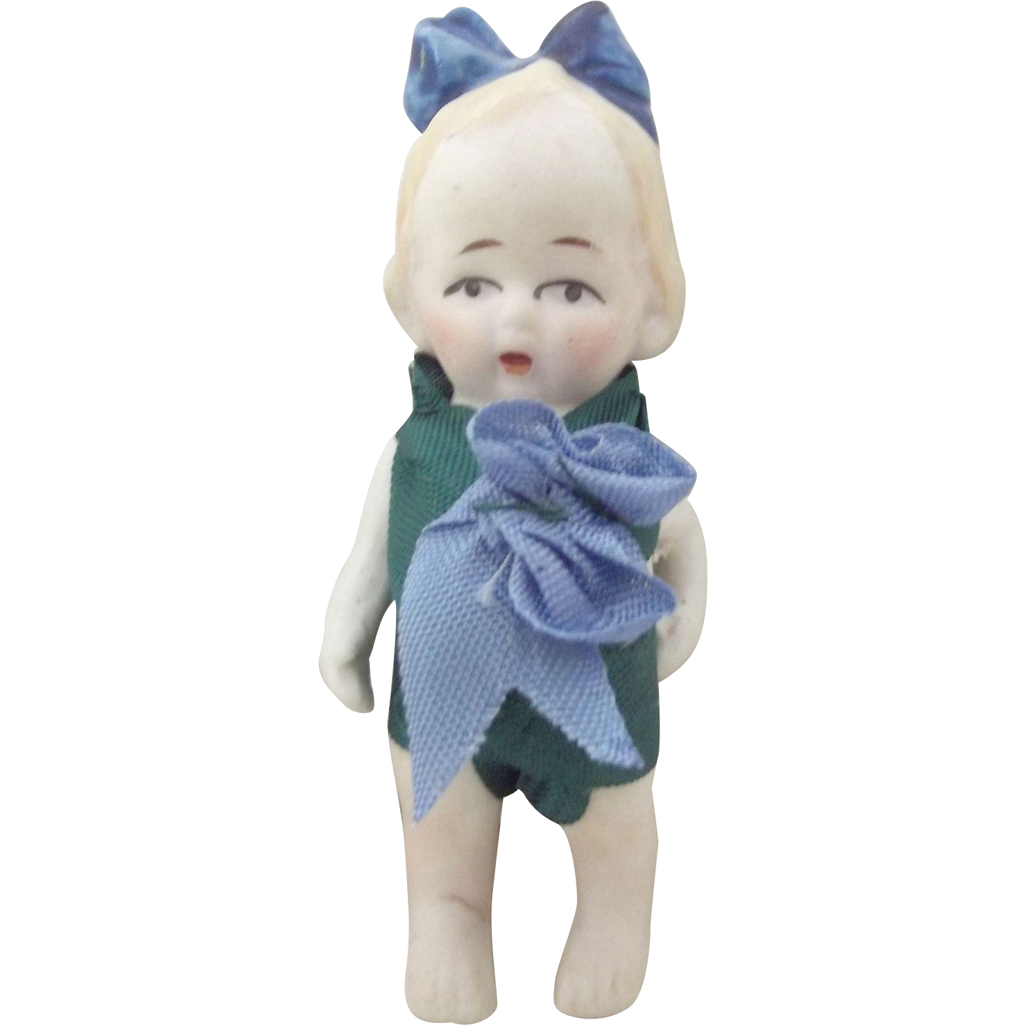 All Bisque Doll With Molded Bow