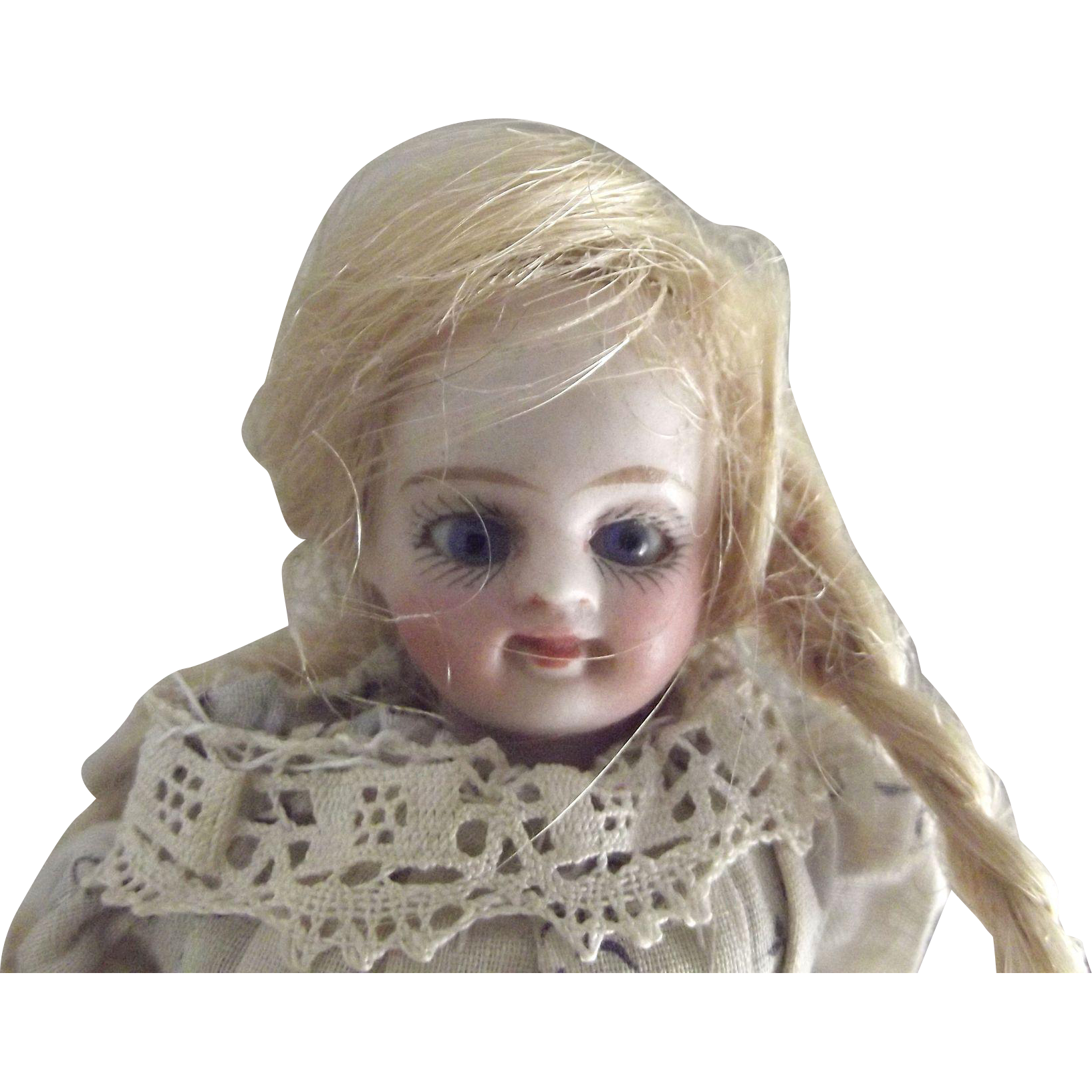 Swivel Neck All Bisque With Closed Mouth, Glass Eyes and Original Clothes and Wig