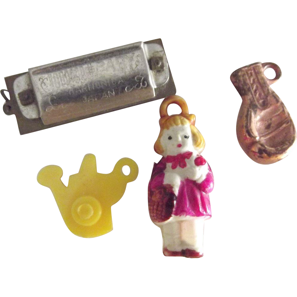 Crackers Jack or Gumball Charms, Red Riding Hood, Boxing Glove, Harmonica, Watering Can