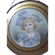 Small Flue Cover With Child In Blue Dress and Bonnet