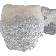 Wide  Double Edged Lace With Netting, Pale Blue Flowers, Early Lace For Doll Dresses, Linens