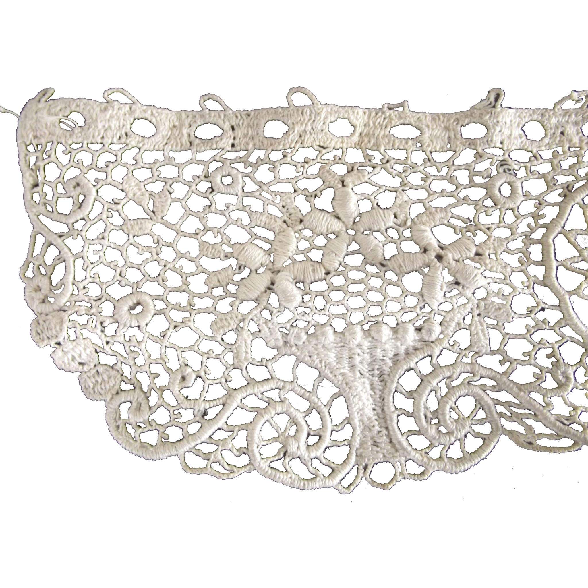 Crochet Remnant With Flower Baskets, Early