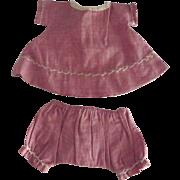 Handmade Dusty Rose Small Dress and Panties