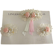 Flapper Lingerie Pins With Rosettes and Lace
