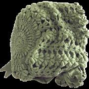 Green Crochet Bonnet With Ribbon Rosettes