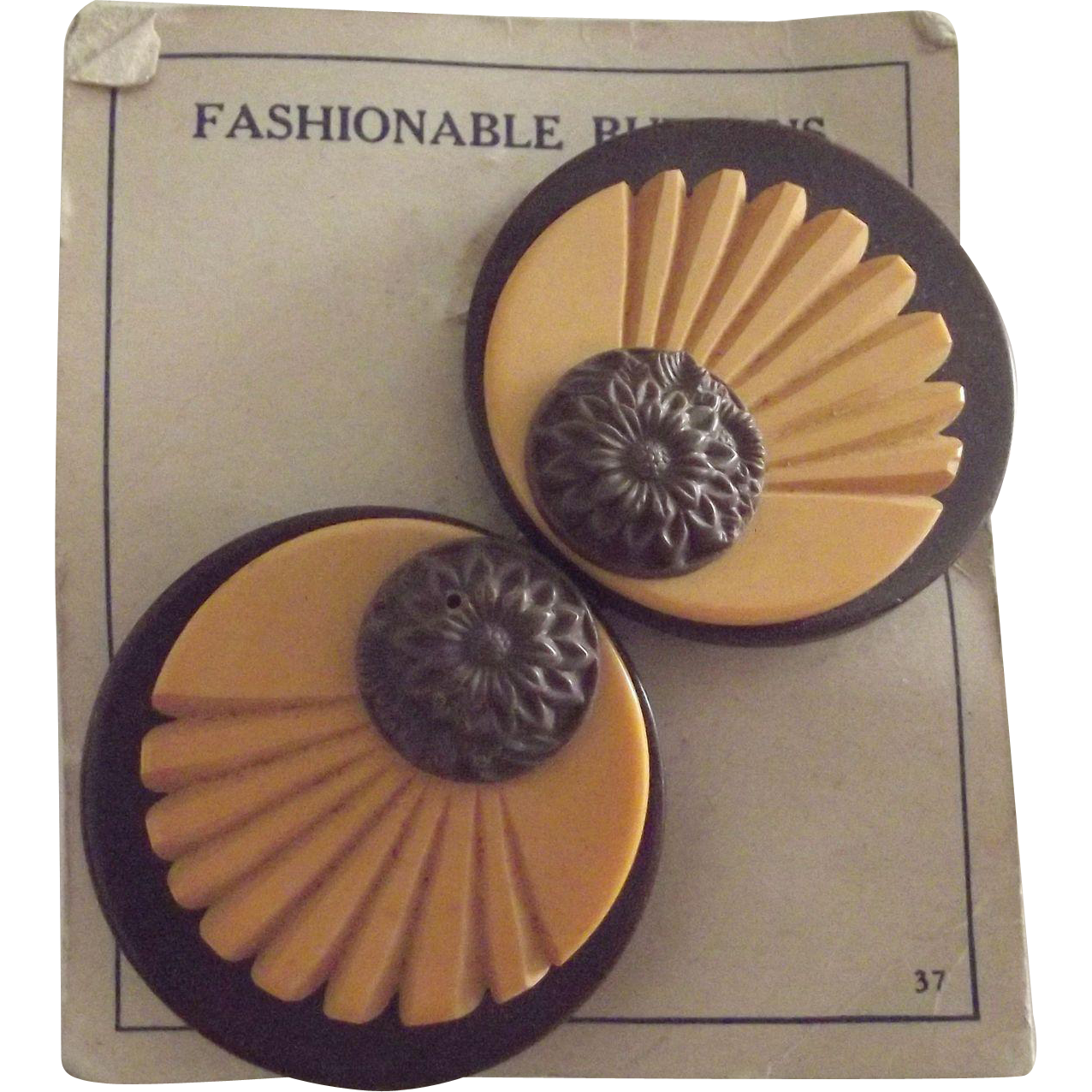 Art Deco Buttons On The Original Card