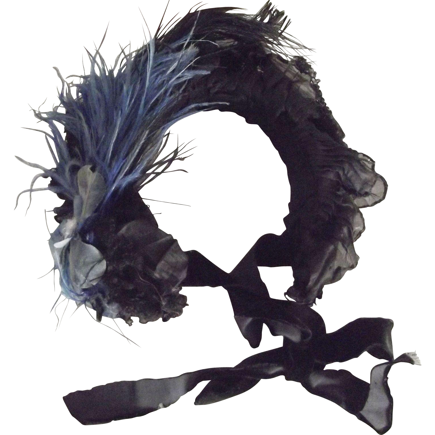 Victorian Mourning Bonnet With Pleated Front, Blue Flower and Feather Trim and Chiffon