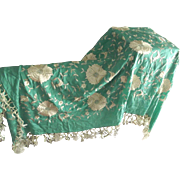 Green and White Shawl With Embroidered FLowers and Birds