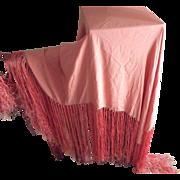 Silk Shawl With Long Fringe, Salmon/Pink