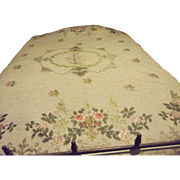 Ribbon Work Bedspread or Tablecloth,Eagle, Flowers, Baskets Probably 1920's