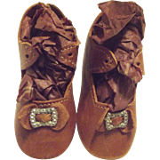 Brown Leather Doll Shoes