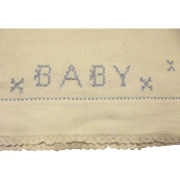 Lawn Pillow Case For Baby With Blue Cross Stitch Embroidery