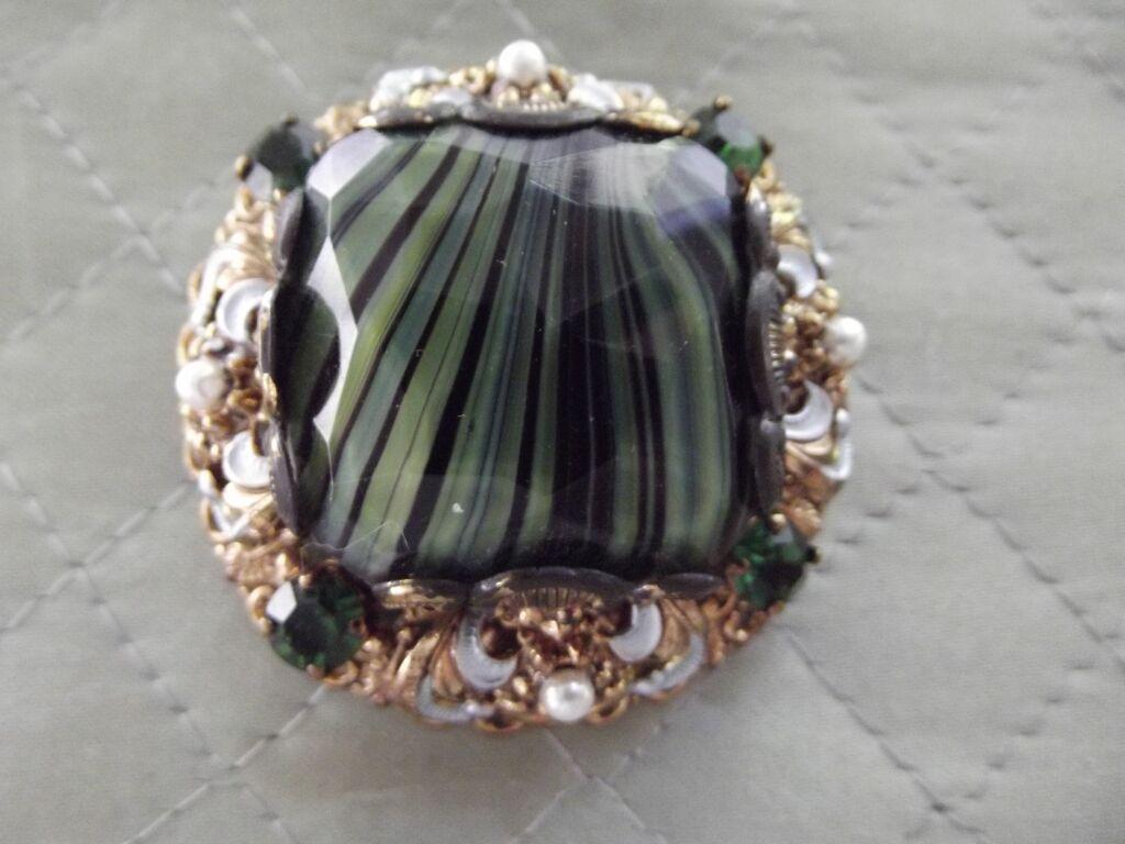 Large Art Stone Pin