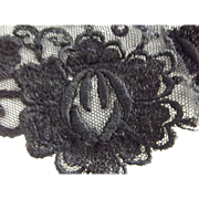 Victorian Black Collar Netting and Embroidery