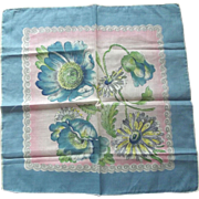 Handkerchief With Big Blue Flowers