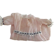 Pink Organdy Doll Dress With Black Ribbon Trim and Lace Beading