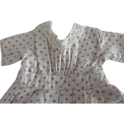 Cotton Doll Dress With Lace Trim and Little Red Dots