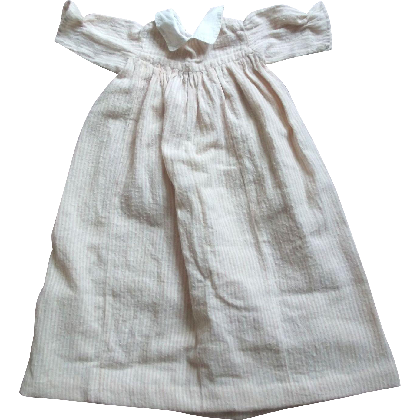 Pink and White Striped Flannel Doll Gown