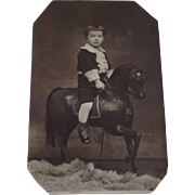 Little Boy IN Fauntleroy Suit On Toy Horse