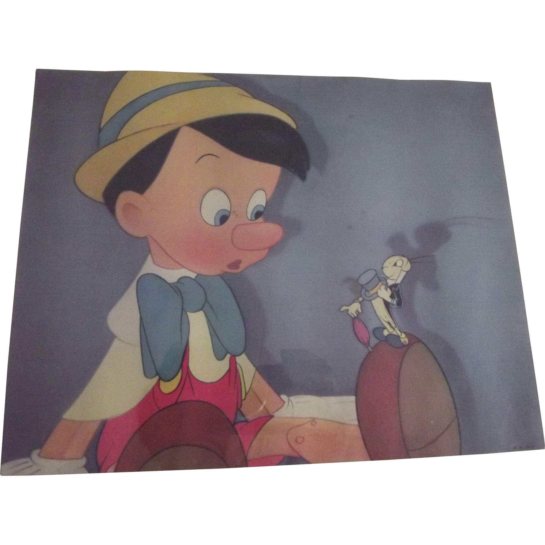 Pinocchio and Jiminy Cricket Old Print As Is